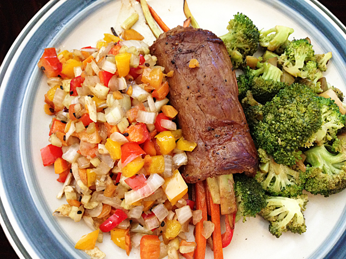 seared-flank-steak-stuffed-with-roasted-julienne-bell-peppers-onions-broccoli-onions-red-and-yellow-bell-peppers-catering