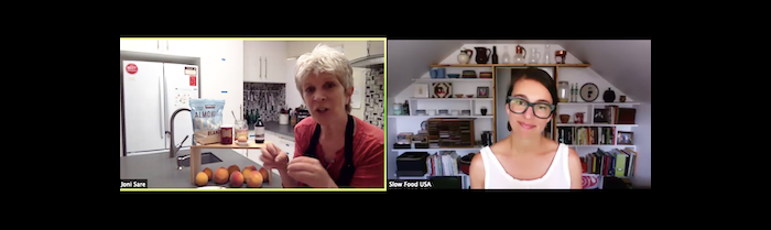 video-screenshot-joni-sare-in-the-kitchen-teaching-online-cooking-class-almond-peach-cake-ingredients-slow-food-live-event