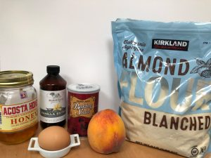 joni-sare-online-cooking-class-almond-peach-cake-ingredients-almond-flour-honey-eggs-baking-soda-vanilla-pancakes-muffins