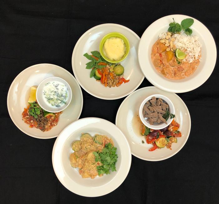 five-dinner-plates-Italian-Greek-mediterranean-Middle-Eastern-Indian-Thai-chicken-lentils-lamb-vegetables-polenta-yogurt-rice